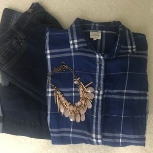 JCrew Blue Flannel XS
